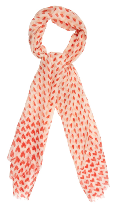 Pink two tone hearts scarf
